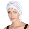 Chemo Beanies Cecile White Ruffle with Black Trim