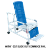 MJM International Tilt N Space Shower Commode Chair with Open Front Soft Seat and Double Drop Arm