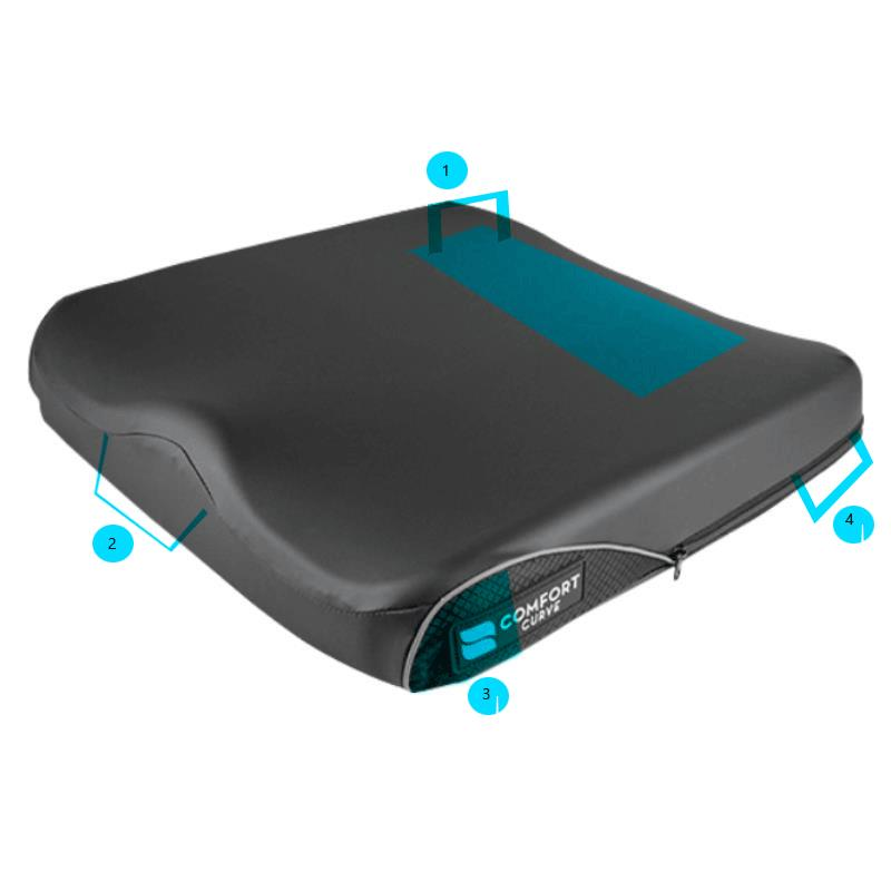 Curve Wheelchair Cushion With Comfort Tek Cover Foam