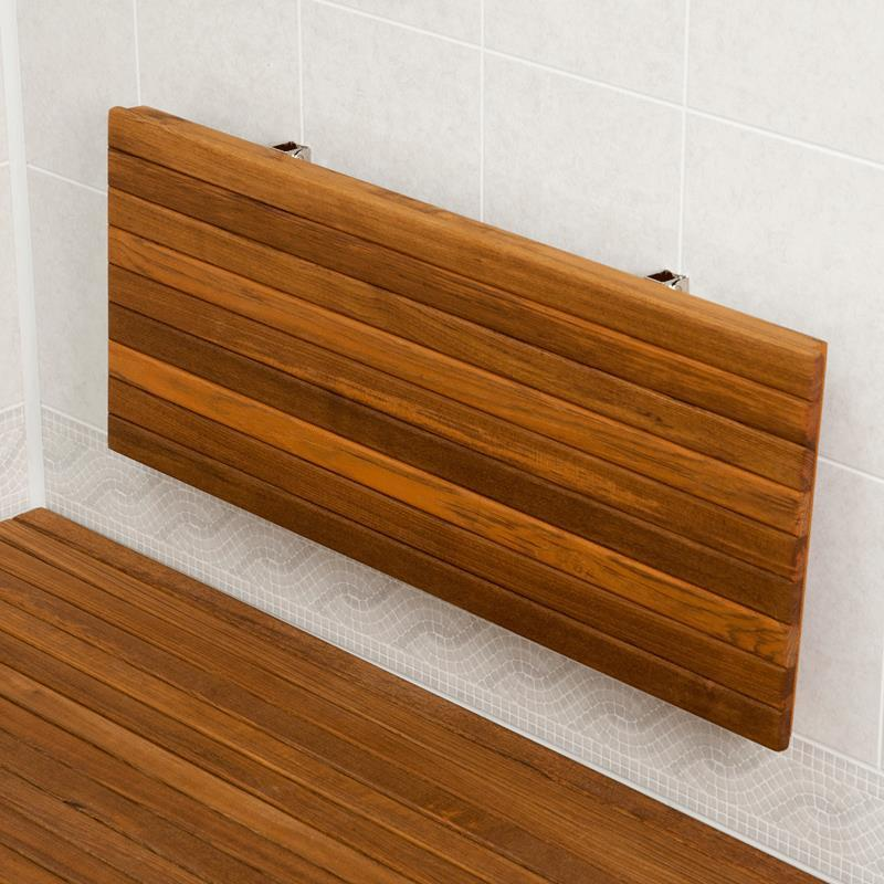 Teakworks4u Wall Mount Fold Down Teak Shower Bench Wall Mounted