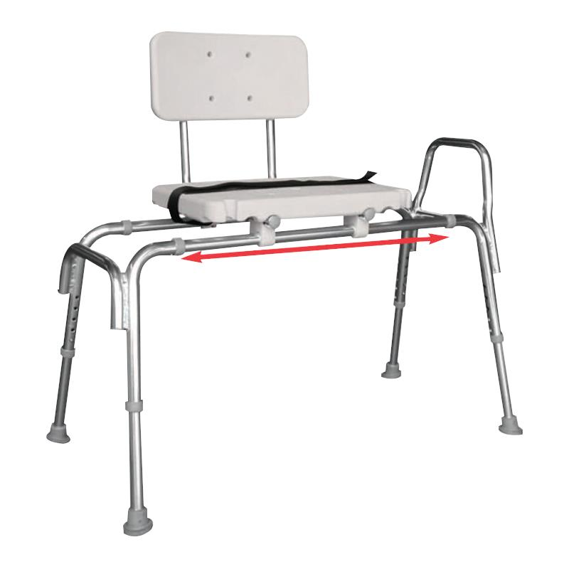 Snap n save sliding transfer bench with molded seat and Sliding transfer bench