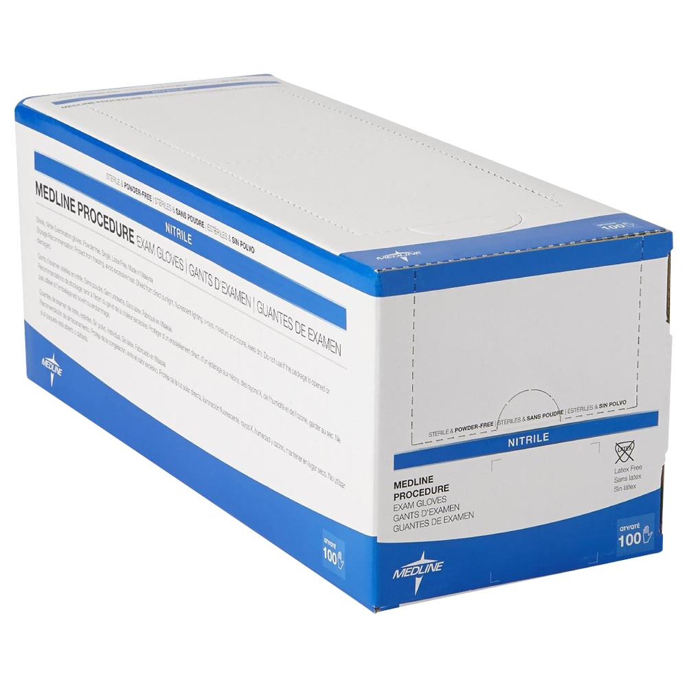 Medline Sterile Powder-Free Latex-Free Nitrile Exam Gloves