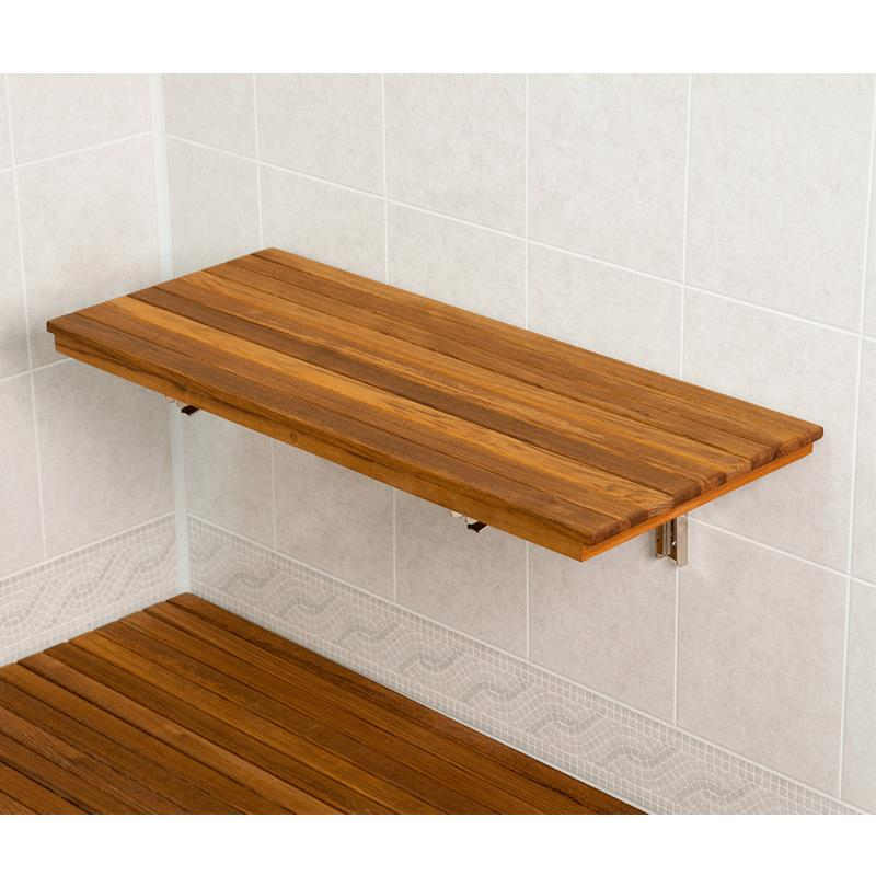 Teakworks4u Wall Mount Fold Down Teak Shower Bench - Mounts Directly