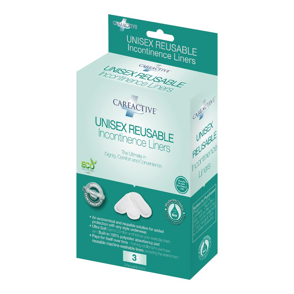 Careactive Unisex Reusable Incontinence Liners Pads And