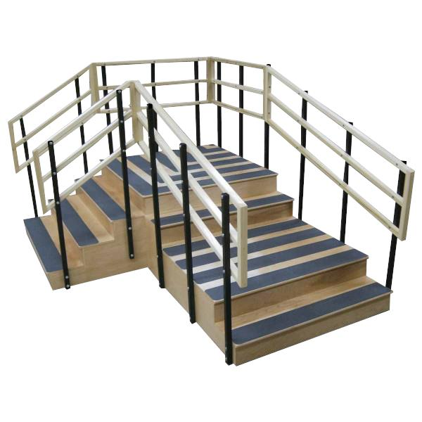 Bailey Dual Platform Right Angle Bariatric Training Stairs