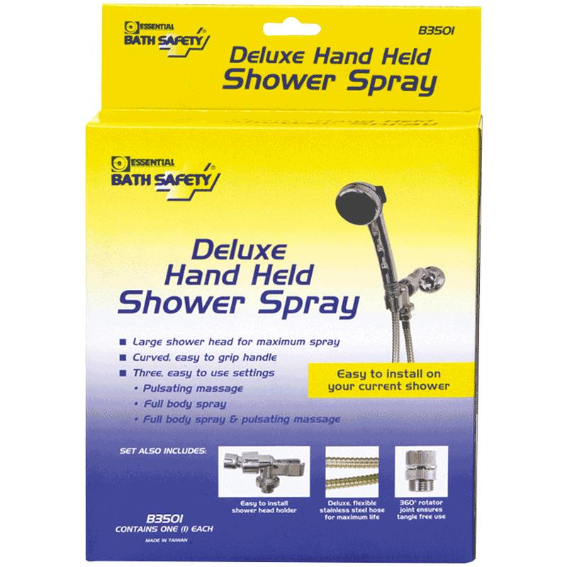 Essential Medical Deluxe Hand-Held Shower Spray With Long Hose ...