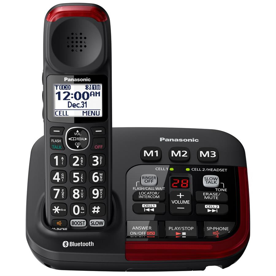 Panasonic Link2cell Bluetooth Amplified Cordless Phone With Digital Answering Machine
