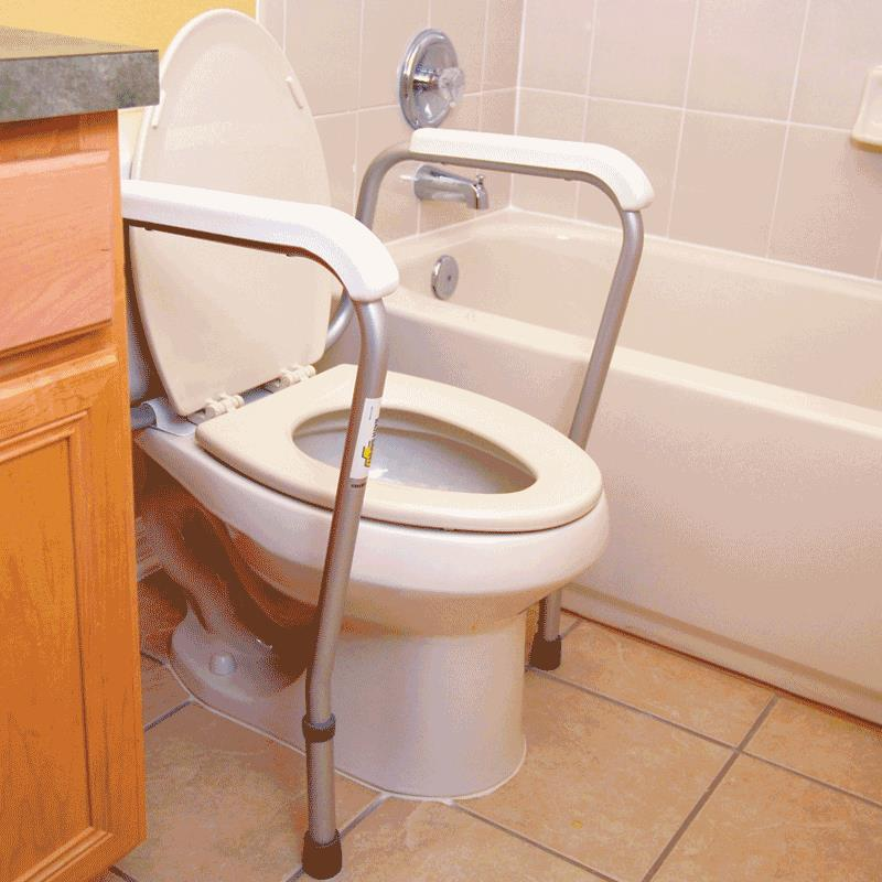 Essential Medical Height Adjustable Toilet Safety Rail | Grab Bars ...