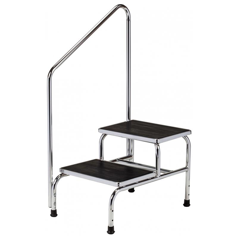 Clinton Chrome Two Step Step Stool With Handrail Medical