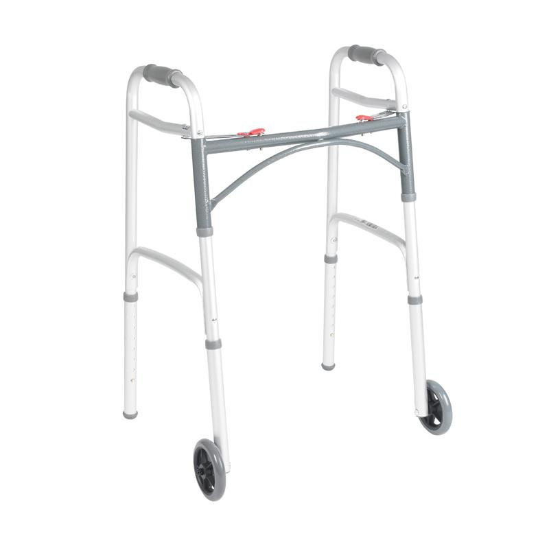 Drive Deluxe Folding Walker Two Button With 5 Quot Wheels