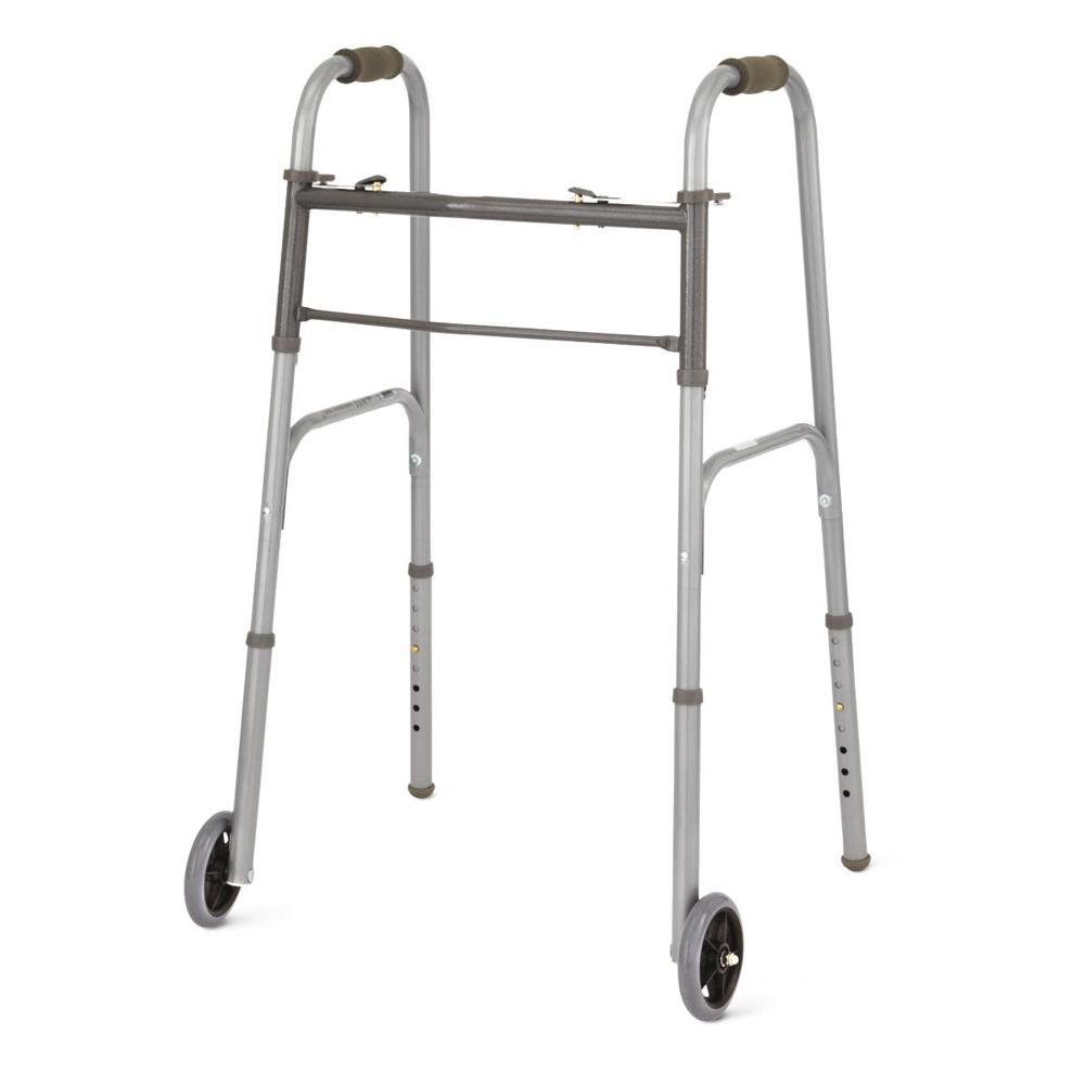 Outstanding Medline Two Button Folding Walkers 5 Wheel Gmtry Best Dining Table And Chair Ideas Images Gmtryco