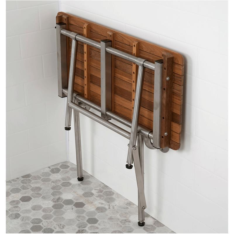 Teakworks4u Burmese Teak ADA Shower Seat with Drop Down Legs ...