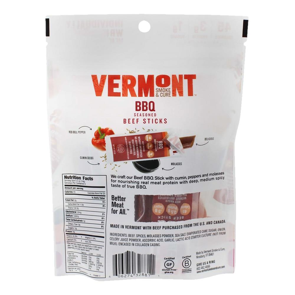 Vermont Smoke Amp Cure Bbq Beef Sticks Speciality Nutrition