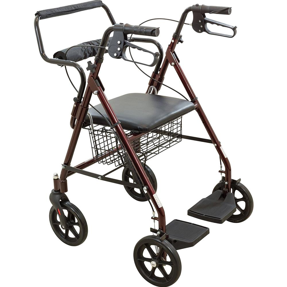 Roscoe Transport Rollator With Padded Seat Transport