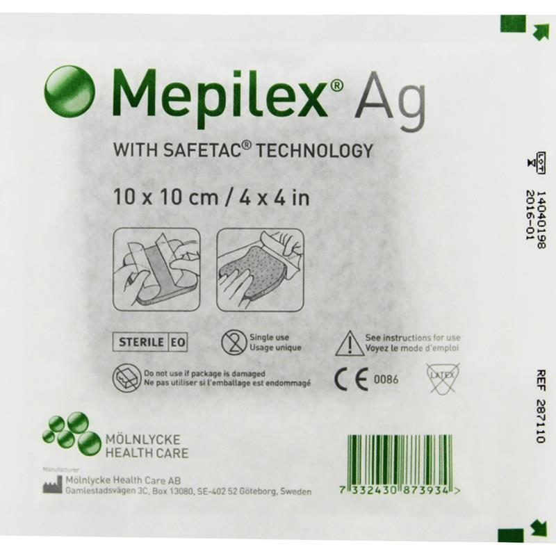 Mepilex Ag Antimicrobial Dressing With Safetac Molnlycke Mepilex Ag