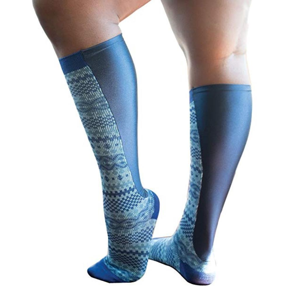 Buy Xpandasox Plus Size Fairisle Double Cylin Panel Knee High Compression Socks