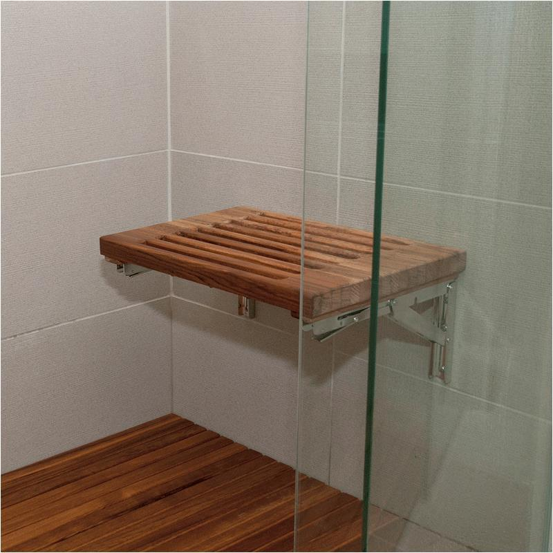 Teakworks4u Wall Mount Fold Down Shower Bench With Slots