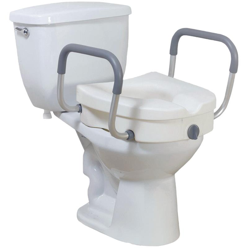 Drive Knock Down 2 In 1 Locking Elevated Toilet Seat With Tool Free Removable