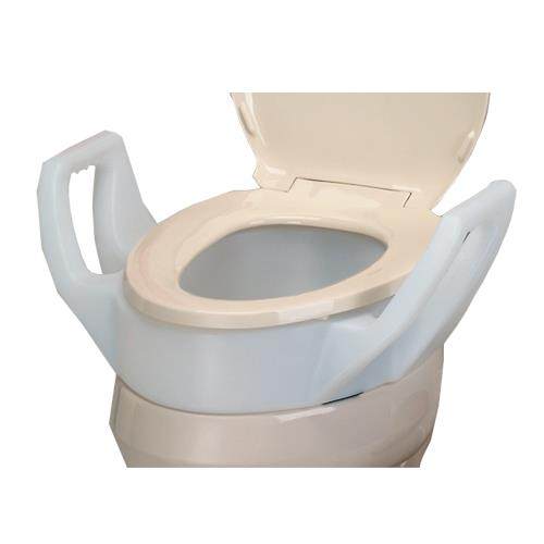 Mabis DMI Elongated Toilet Seat Riser With Arms | Raised Toilet Seats