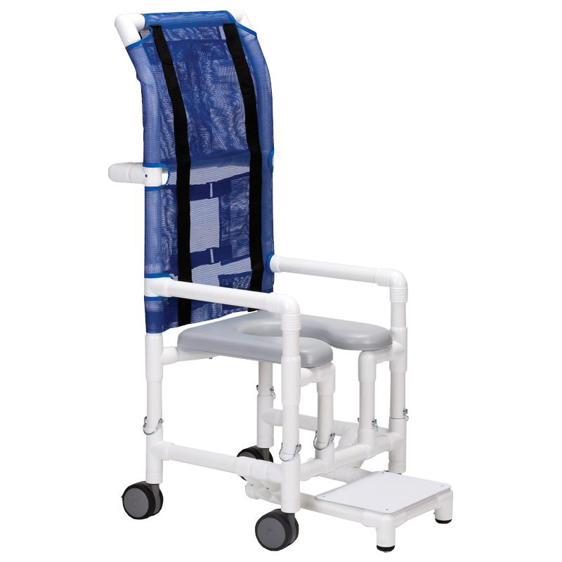 columbia pvc hiback shower and commode chair - Shower Chair With Back