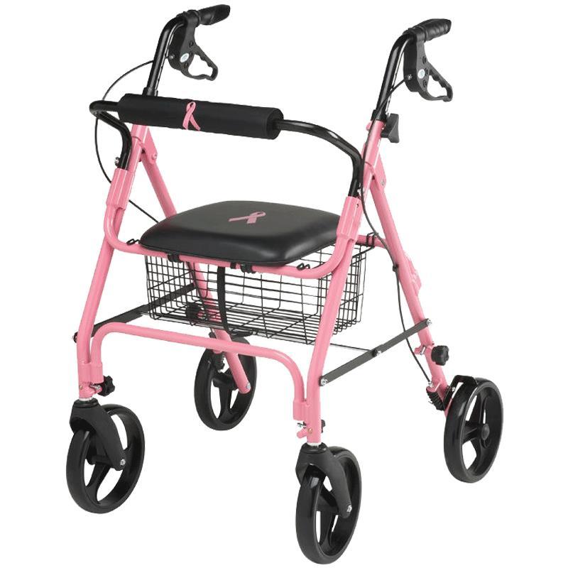 Medline Breast Cancer Awareness Four Wheel Rollator 4