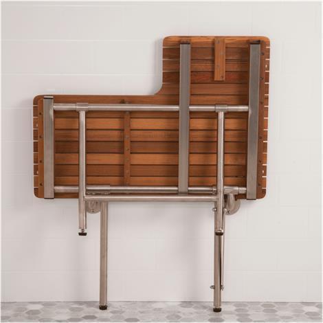 Teakworks4u ADA L-Shaped Transfer Seat With Drop Down Legs | Shower ...