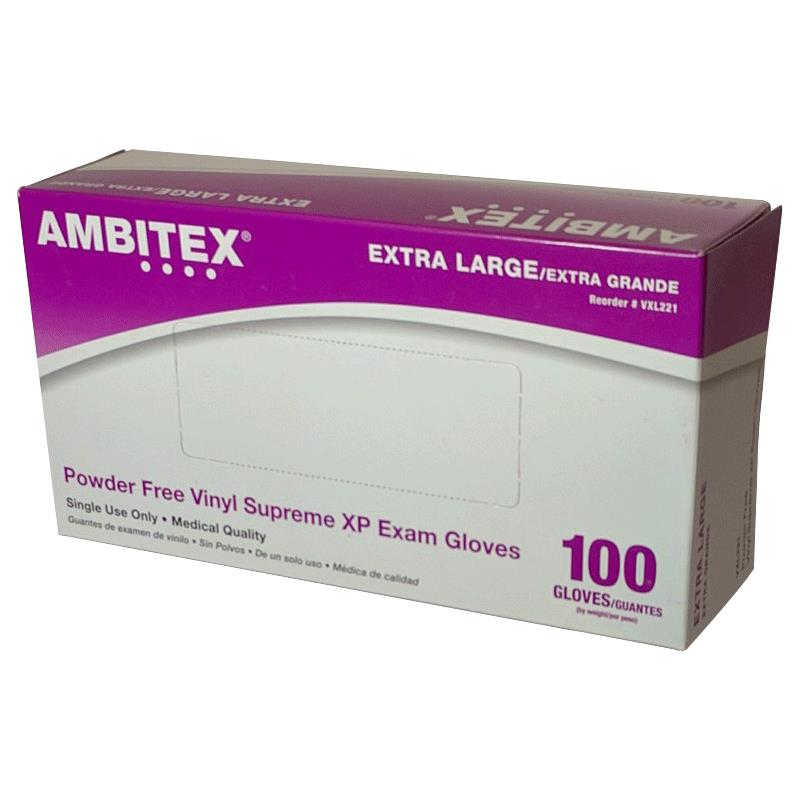 Ambitex Supreme Xp Stretch Vinyl Powder Free Exam Gloves