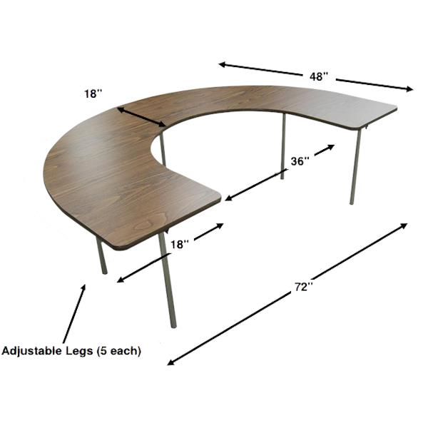 Merveilleux Bailey Horseshoe Shape Adjustable Activity Table