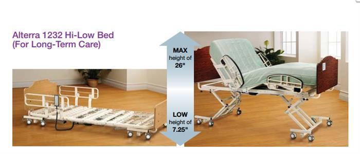 medline alterra 1232 hi-low full electric hospital bed | hospital bed