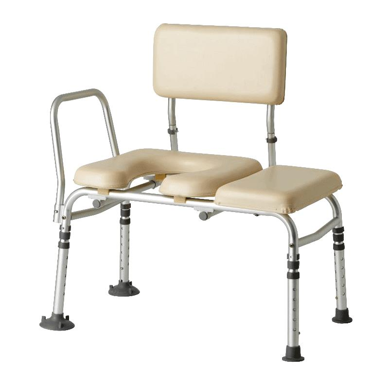 Medline Padded Transfer Bench with Commode Opening | Transfer benches