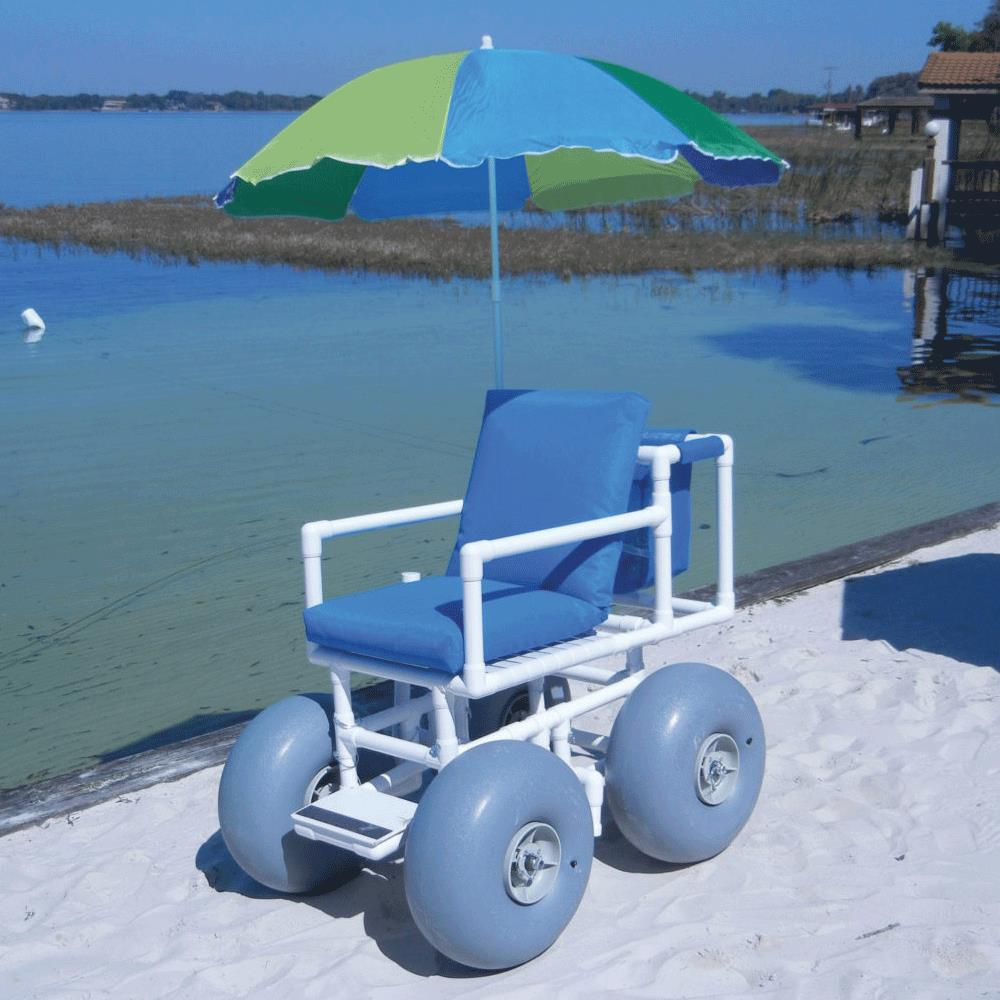 Aqua Creek Beach Access Chair With 4 Large Wheels And Umbrella