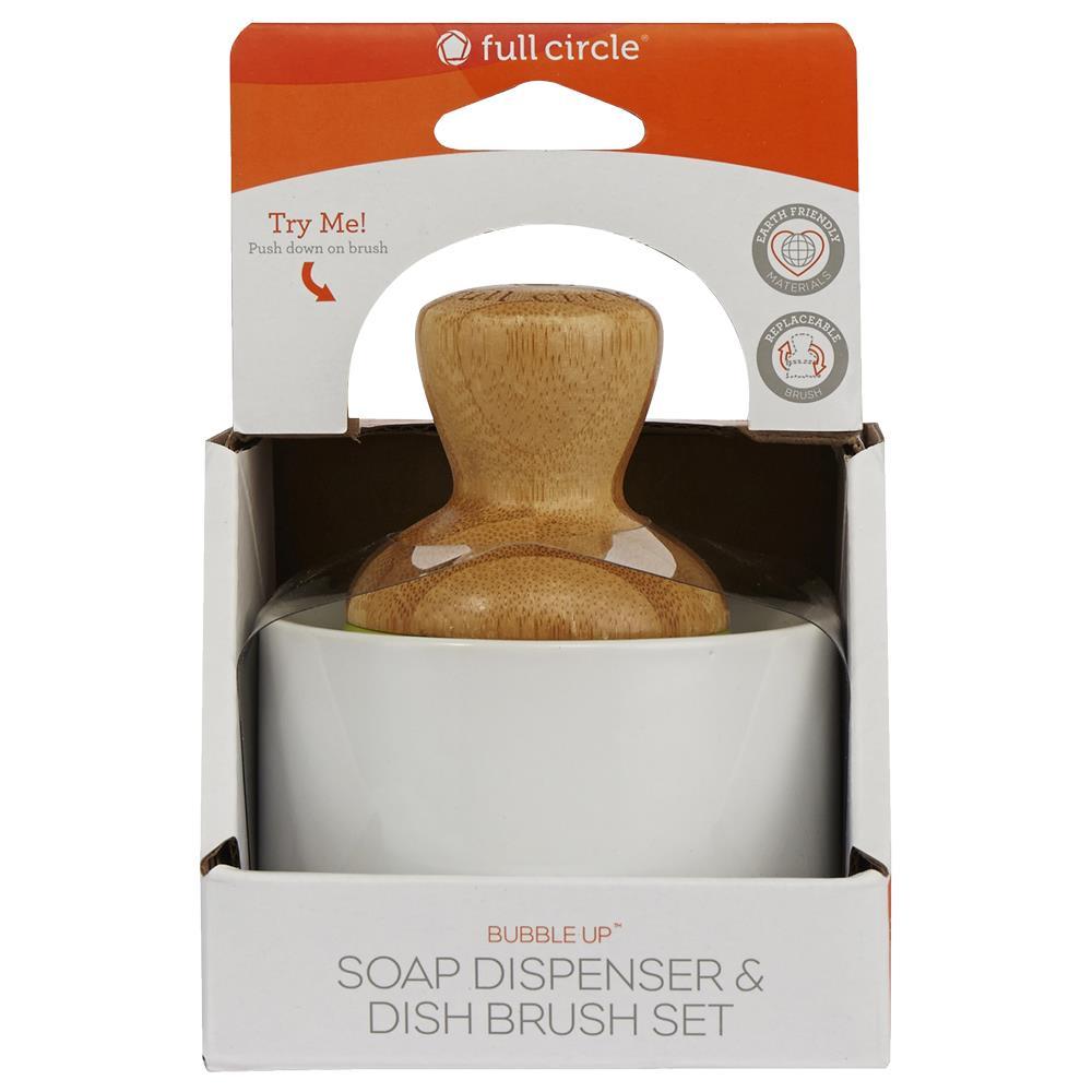 Full Circle Bubble Up Ceramic Soap Dispenser and Dish Brush Set ...