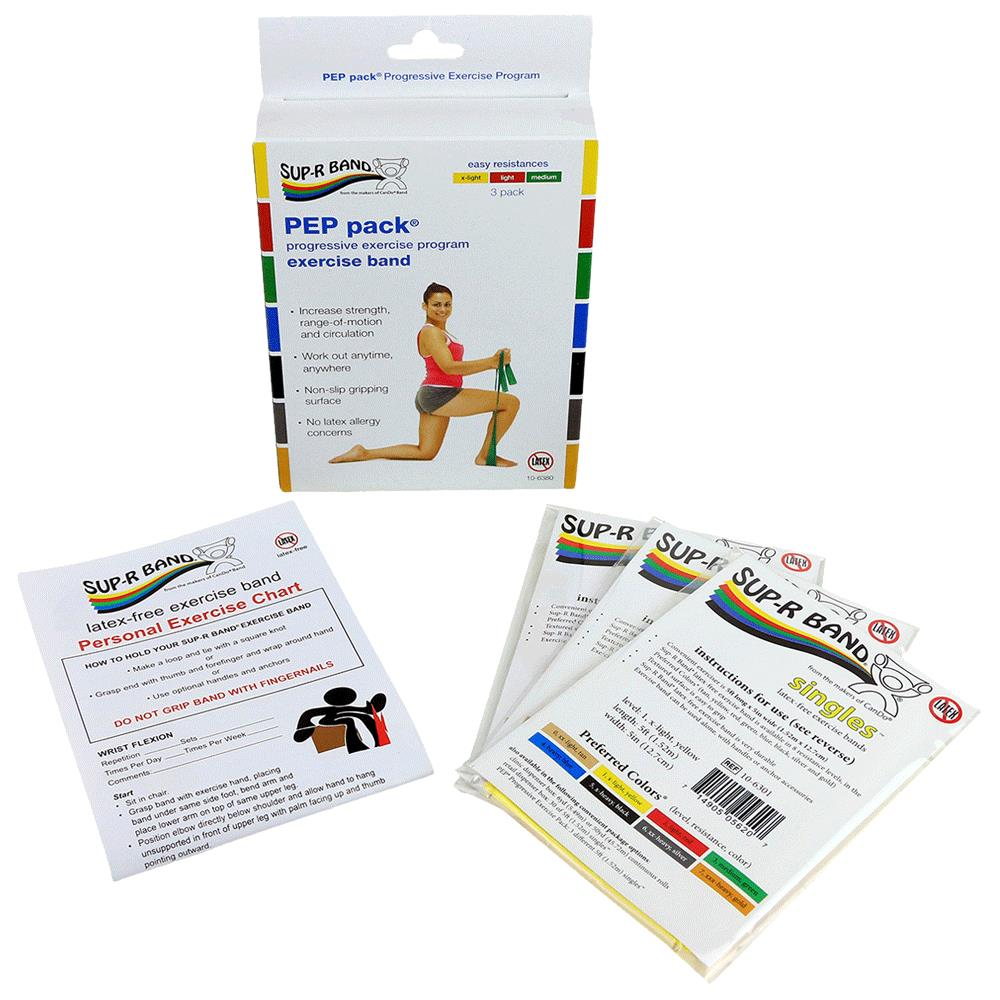 Jc Exercise Bands: Sup-R Band Latex Free Easy Exercise Band PEP Pack