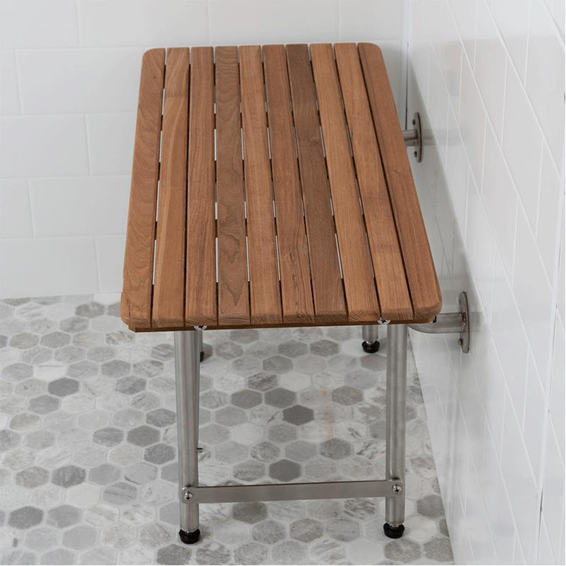 Teakworks4u Plantation Teak ADA Shower Seat with Drop Down Legs