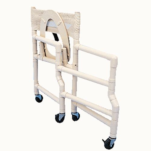 Healthline Folding Shower Chair With 18 Inch Wide Deluxe Elongated Commode Seat
