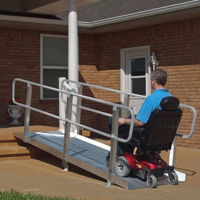 Wheelchair Ramps With Handrails : Pvi aluminum ontrac ramp with handrail portable ramps
