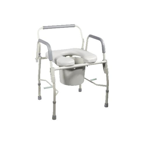Drive Knock Down Deluxe Steel Drop Arm Commode With Padded