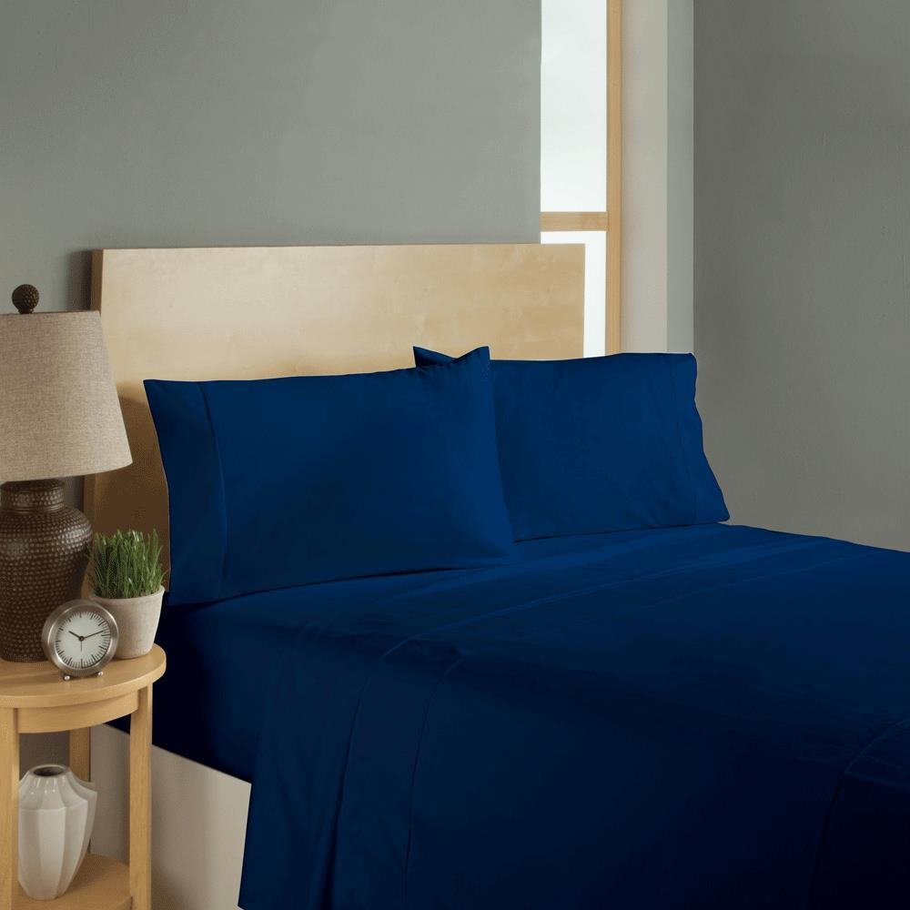 Simple sheets sleep soft bed sheets set navy bedsheets for Minimalist bed sheets