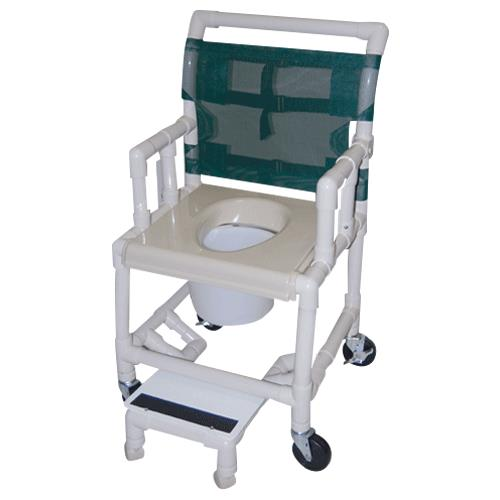 Healthline Deluxe Drop Arm Vacuum Seat Shower Commode Chair With Footrest And Wheels