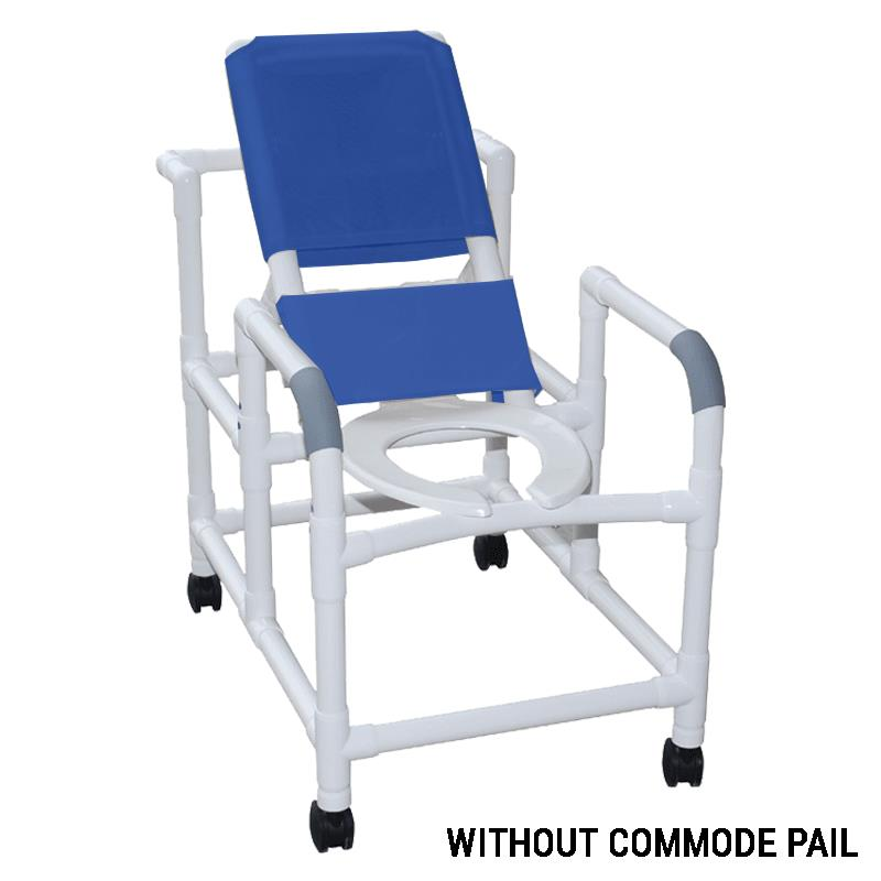 MJM International Reclining Shower Chair with Open Front Commode ...
