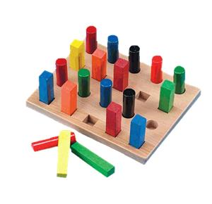 Assorted Square and Round Pegs and Pegboard
