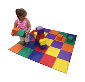 Awesome Soft Patchwork Floor Mat And Play Blocks Set
