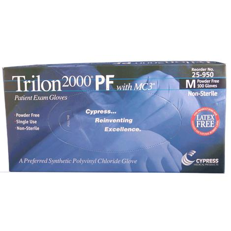 Cypress Trilon Smooth Powder Free Stretch Vinyl Exam Gloves
