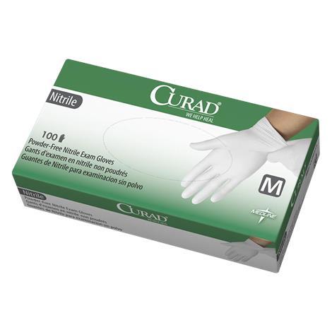 Medline Curad White Powder-Free Nitrile Exam Gloves