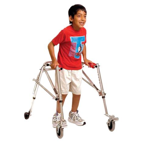 Kaye Wide Posture Control Four Wheel Walker With Front Swivel And Silent Rear Wheel For Youth