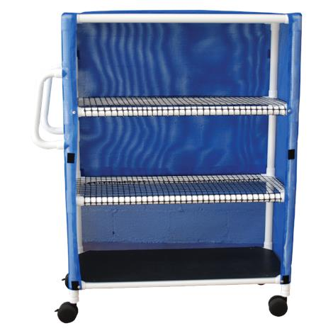 MJM International Three Shelf Jumbo Linen Cart with Open Area Shelf System