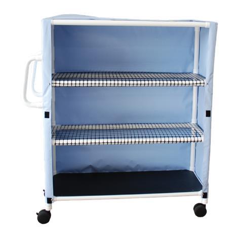 MJM International Three Shelf Linen Cart With Open Area Shelf System
