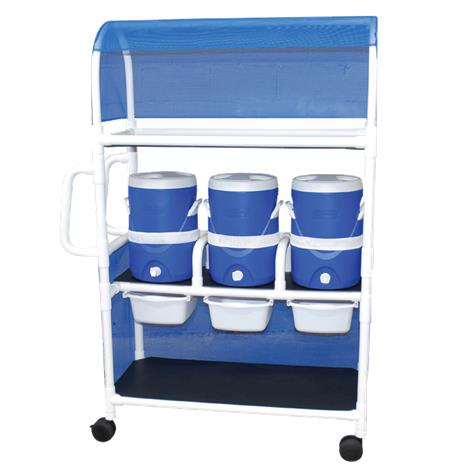 MJM International Hydration Ice Cart with Three Water Coolers