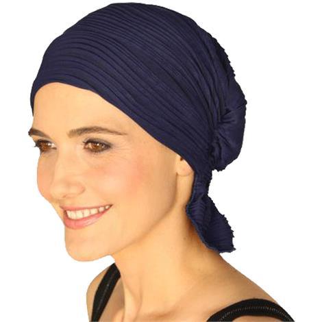 Chemo Beanies Donie Navy Wavy Knit Ruffle