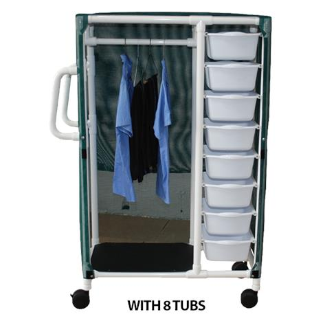 MJM International Specialty Cart with Pull Out Tubs and Hanging Space
